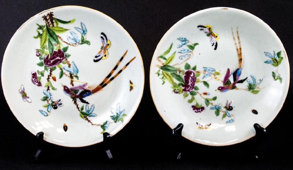Pair Chinese Celadon Hand Painted Porcelain Plates