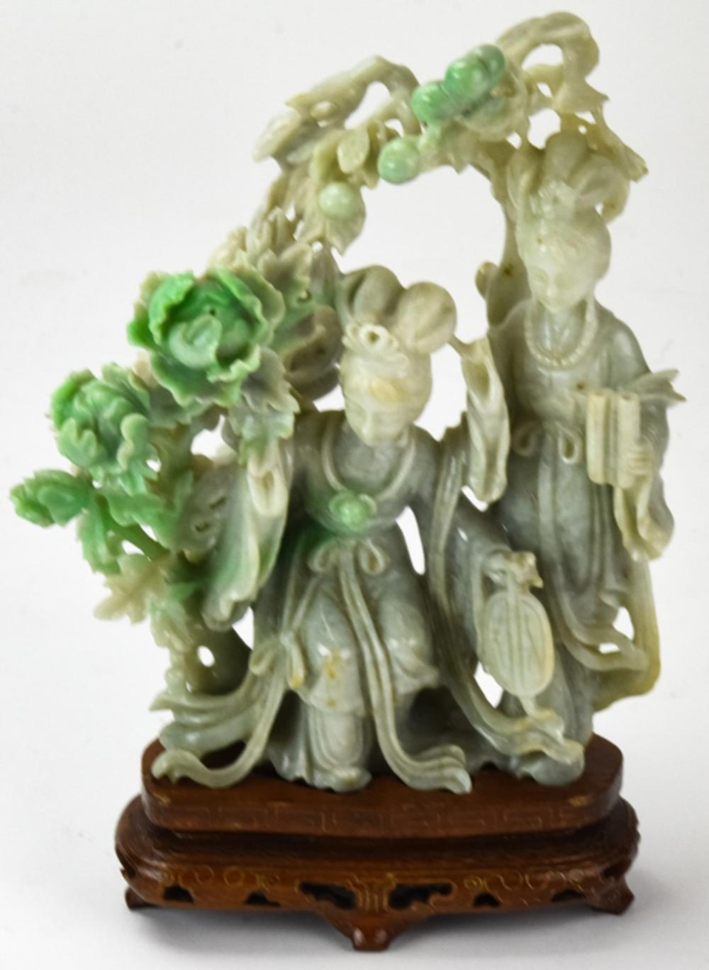 Hand Carved Chinese Jade Statue of Two Ladies