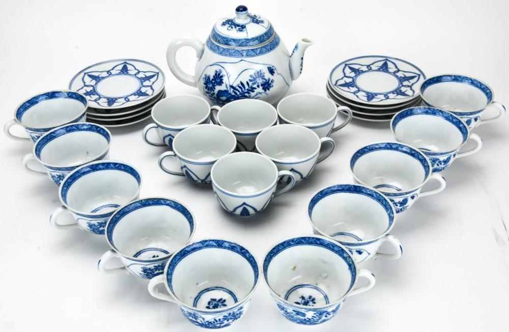 Chinese Blue & White Porcelain Tea Set