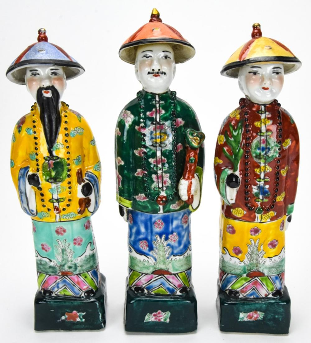 3 Chinese Porcelain Figural Statues of Wise Men