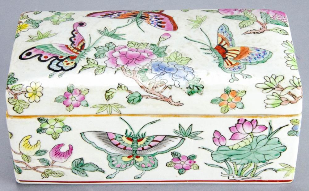 Asian Porcelain Hand Painted Lidded Trinket Box