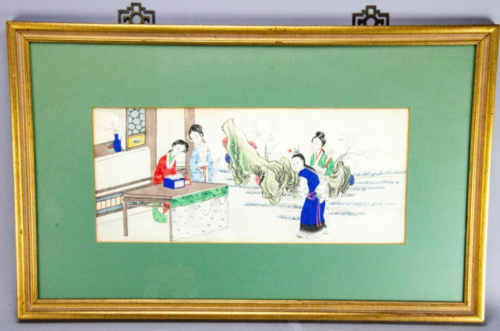 Asian Court Scene Painting on Rice Paper