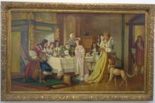 Sir Sydney Prior Hall Oil on Canvas of 17th C Kiss