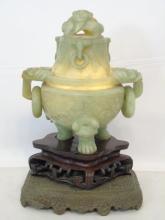 Large Qing Dynasty Carved Celadon Hardstone Censer