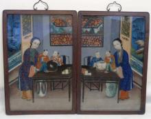Pair 19th C Chinese Vers Eglomise Reverse Painting