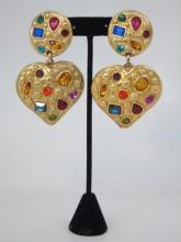 Jacky DEG French Gilt Heart w/ Paste Earrings
