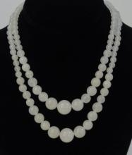 Pair Chinese White Jade Graduated Bead Necklaces