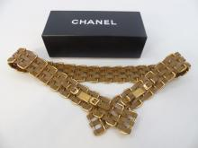 Chanel Leather & Gilt Gold Belt with Hook