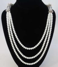 Tibetan Style Silver Mounted White Pearl Necklace