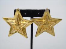 Escada Gilt Gold Oversized Star Earrings