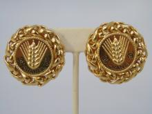 Chanel Braided Gilt Gold Clip Earrings