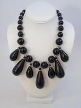 Giorgio Armani Black Glass Necklace with Paste