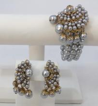 Miriam Haskell Style Pearl Bracelet & Earrings