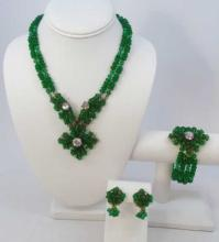 Miriam Haskell Style Emerald Jewelry Set
