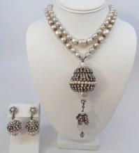 Miriam Haskell Style Pearl Necklace w/ Pendant