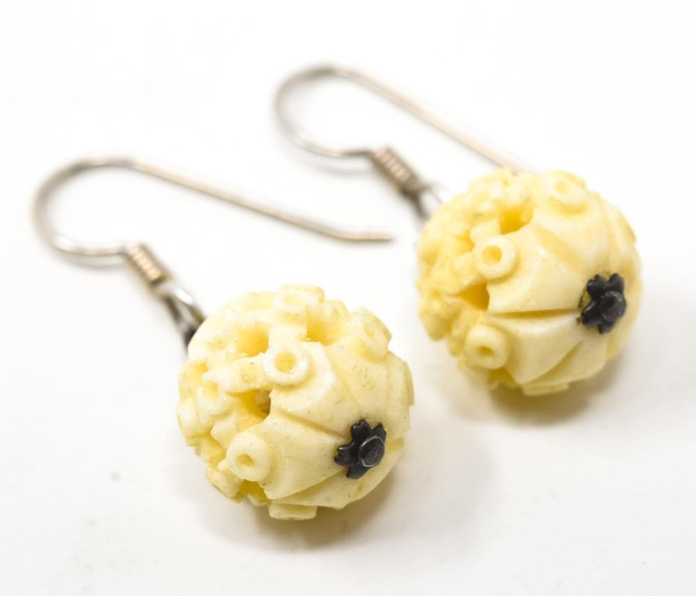 Pair Hand Carved Bone Chinese Puzzle Ball Earrings