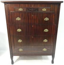 Turn-of-Century Mahogany Chest with Five Drawers