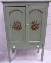 Vintage Swedish Painted Cabinet with Floral Motif