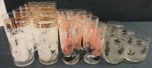 3 Sets of Mid-Century Drinking Glasses
