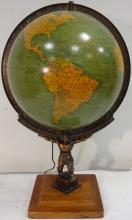 Mid-Century Desk Globe w/Bronze Sculpture of Atlas