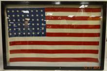 Framed Very Large Vintage 48 Star American Flag