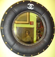 Mid-Century Circular Mirror with Chanel Logo