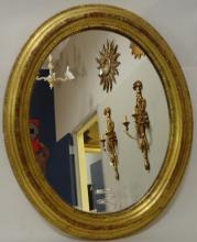 Mid-Century Gilt Italian Oval Mirror