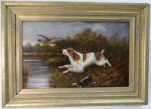 Spaniel Chasing Duck- W. H. Hardy- Oil on Canvas
