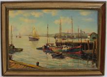 William Hanley- Docks Scene- Oil on Canvas