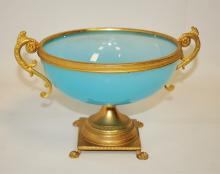 19th Cent Blue Opaline Glass Bowl w/Ormolu Work