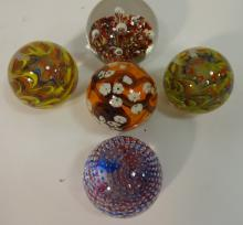 Lot of 5 Vintage Art Glass Paperweights