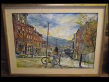Franklin Wurster- Cityscape w/Cyclist- Oil/Canvas