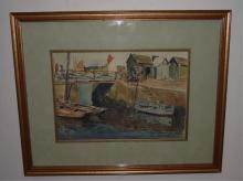 Docks Scene- Maurice Menardeau- Watercolor