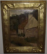 Landscape w/Cottage- Robert Wickenden- Oil/Panel
