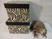 Pair/Mid-Century Zebra Print Boxes+Gilt Metal Frog