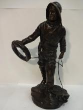 Fisherman Bronze Signed Kossowski, Salon 1907