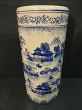 Vintage Chinese Blue+White Ceramic Umbrella Stand