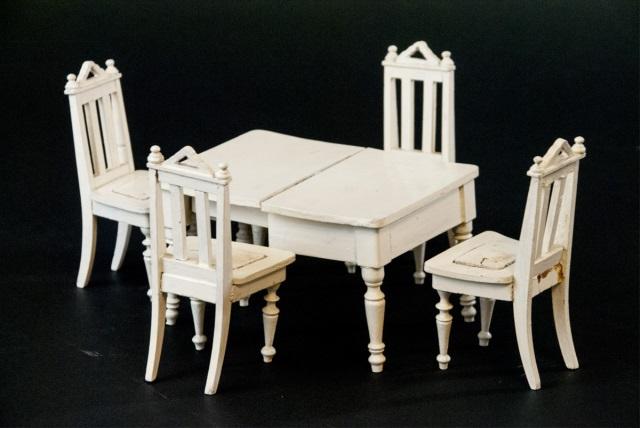 Antique 19th C Dollhouse Dining Room Set