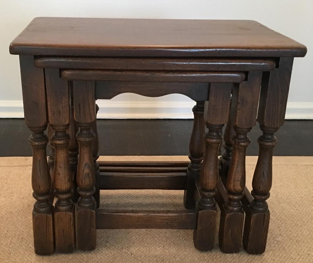 Vintage asian carved nesting tables