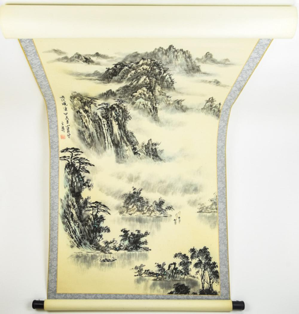 Lot 399: Chinese Mountain Landscape Scroll Painting