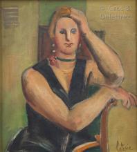 Louis LATAPIE (1891-1972) Jeune femme au collier ras de cou