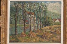 Adolphe CLARY-BAROUX (1865-1933) Meules en bord de rivière