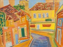 Louis LATAPIE (Toulouse 1891 - Avignon 1972) Vue d'un angle de rue