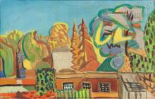 Louis LATAPIE (Toulouse 1891 - Avignon 1972) Les toits du village
