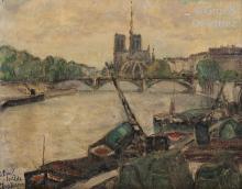 Adolphe CLARY-BAROUX (1865-1933) La Seine et Notre-Dame