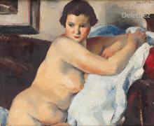 Charles KVAPIL (1884-1957) Nu étendu sur un canapé