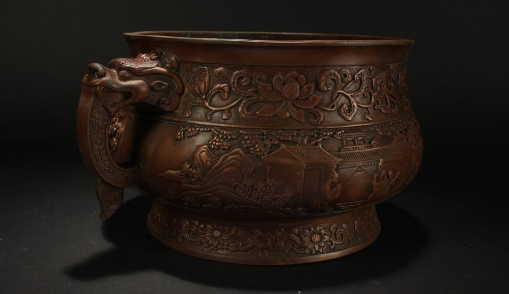 Lot 5: A Chinese Dragon-decorating Duo-handled Massive Censer