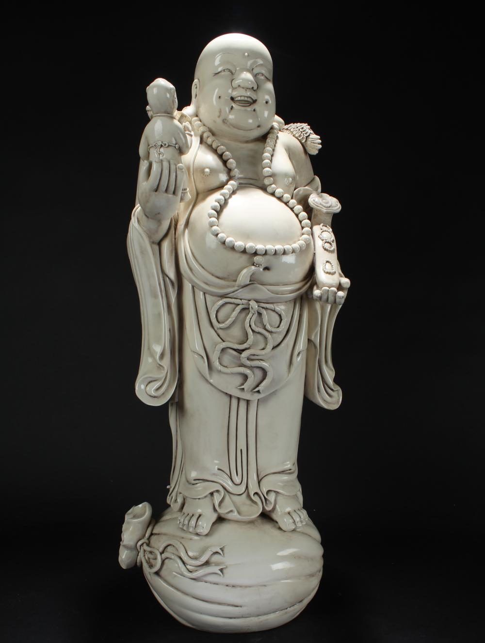A Chinese Blanc De Happy-buddha Massive Display Statue