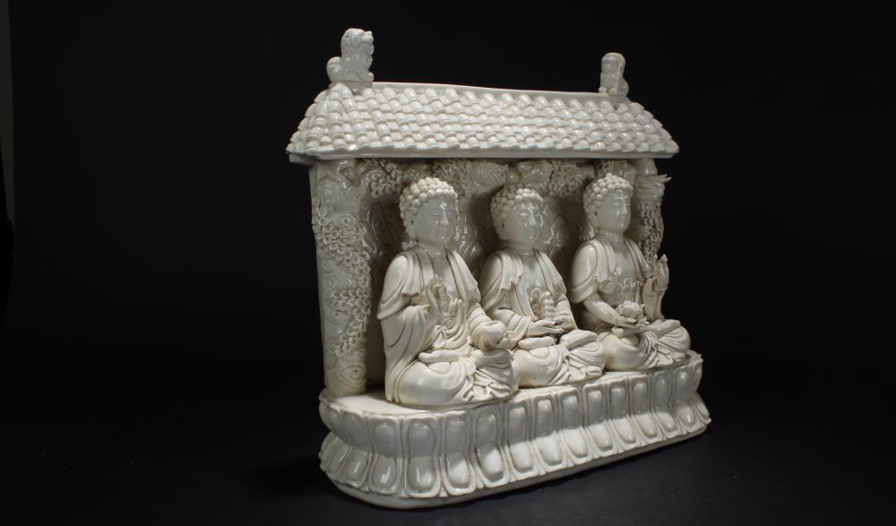Lot 24: An Estate Chinese Tir-Fortune Blanc de Religious Buddha Statue