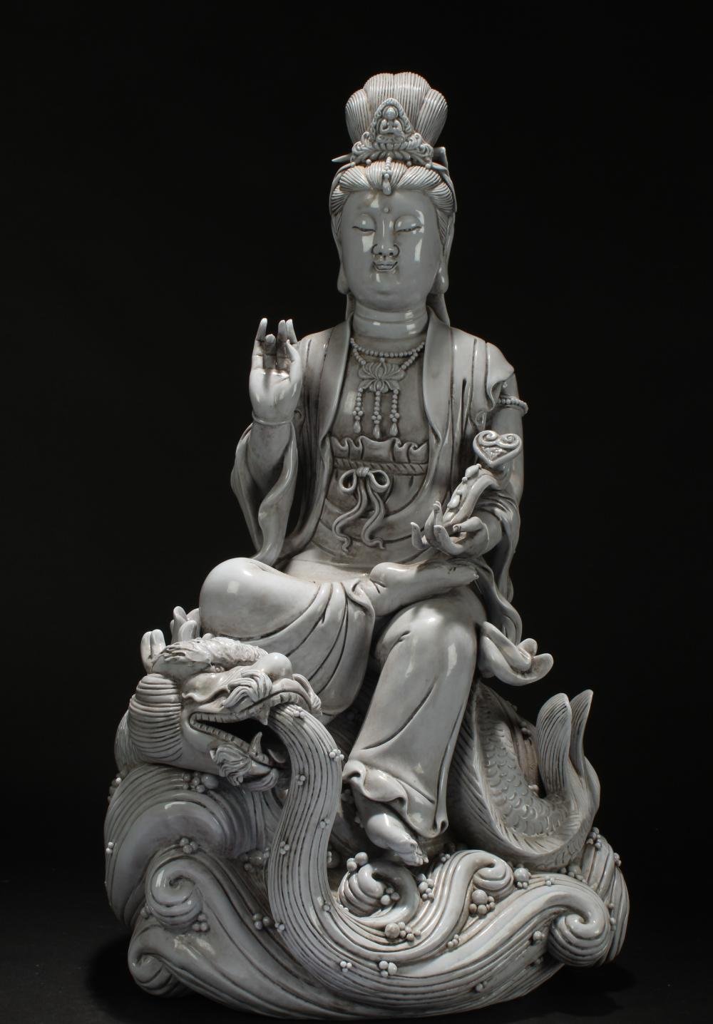 A Chinese Estate White Porcelain Dragon-decorating Statue Display